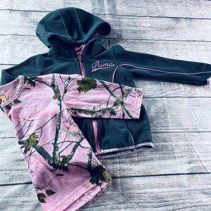 Girls 4T Puma zip Hoodie + Pink Camo tee
